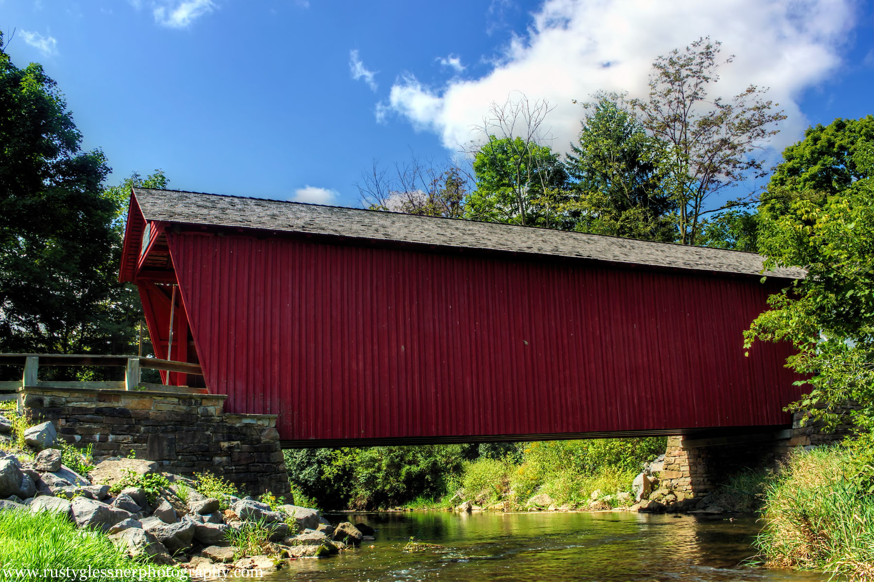 Side view of Logan Mills Covered Bridge, Clinton County, PA.