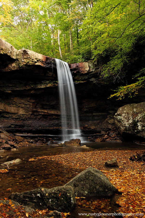 Autumn view of Cucumber Falls - Ohiopyle State Park.