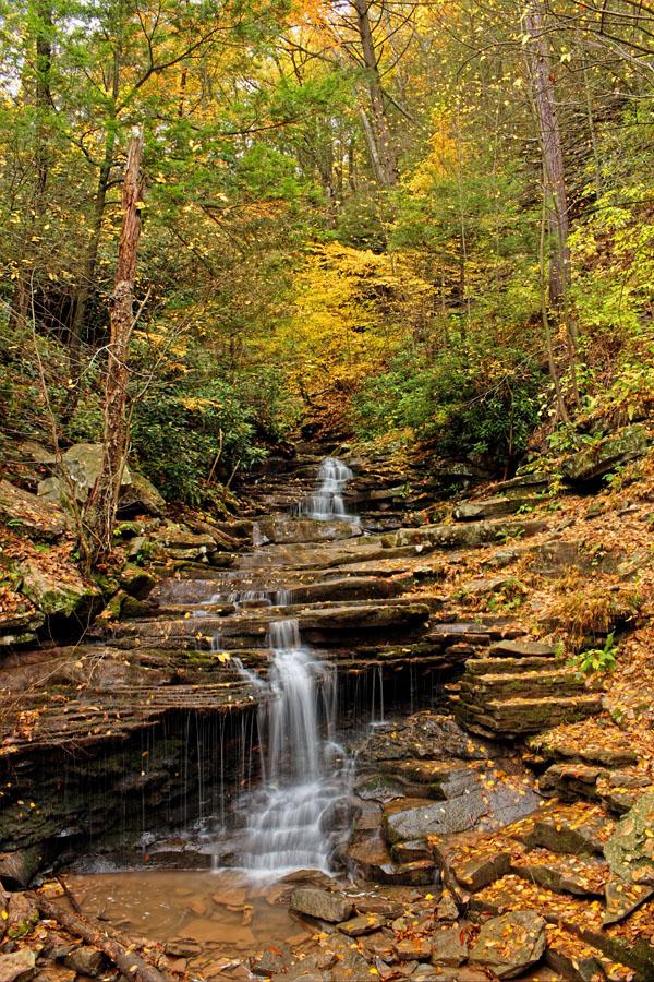 Fall foliage around Rainbow Falls, Trough Creek State Park, HUntingdon County, PA