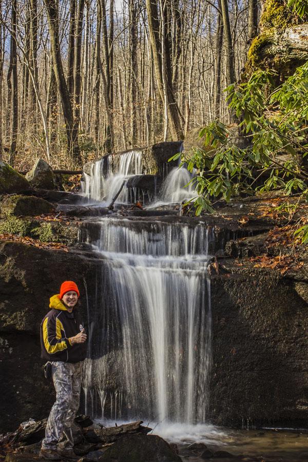 Self-portrait, Fechter Run Falls, Ohiopyle State Park, Fayette County, PA.