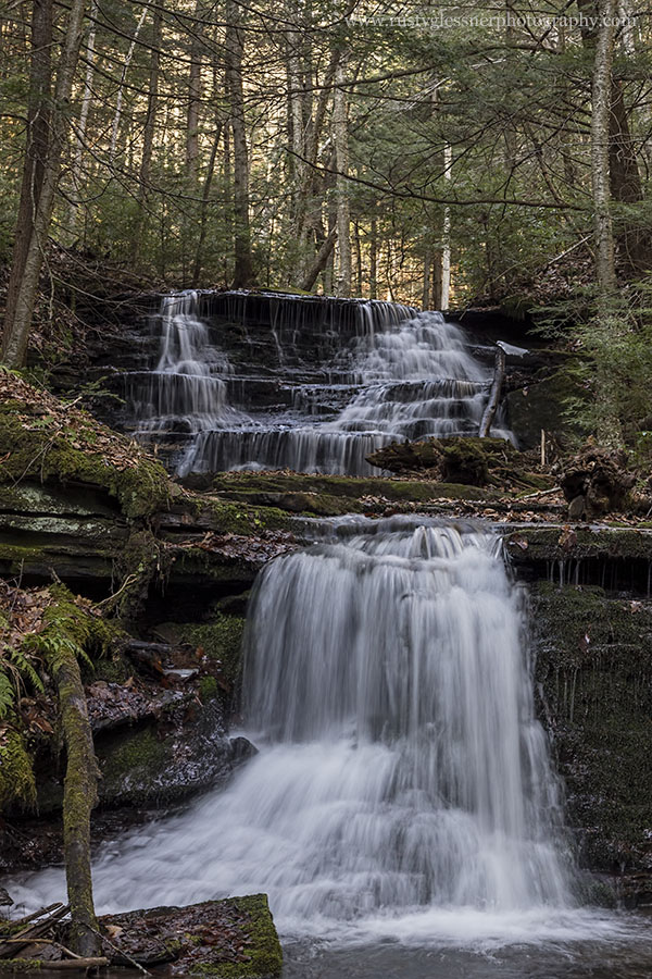 Bear Run Falls #1, upper and lower tiers, Colton Point State Park, Tioga County