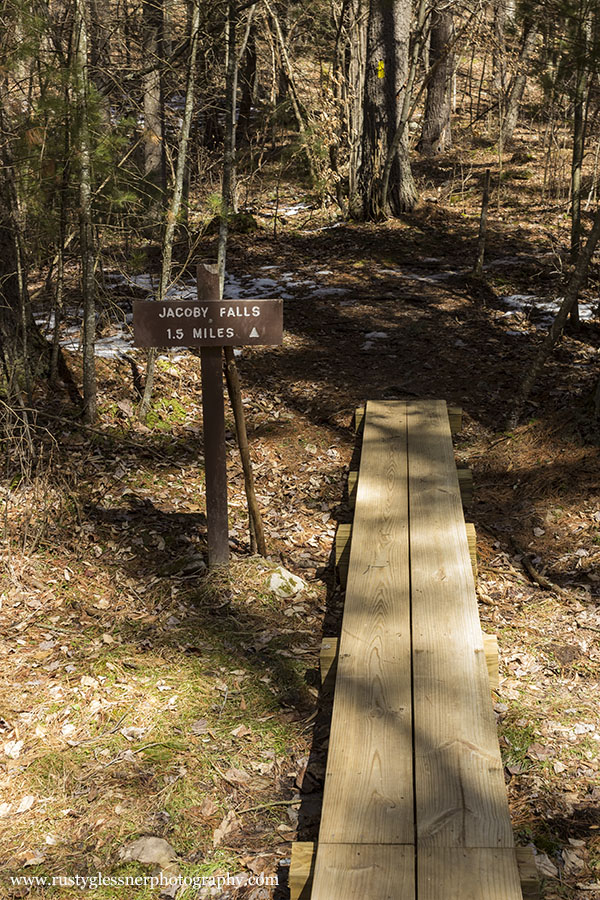 Jacoby Run Falls trail head.