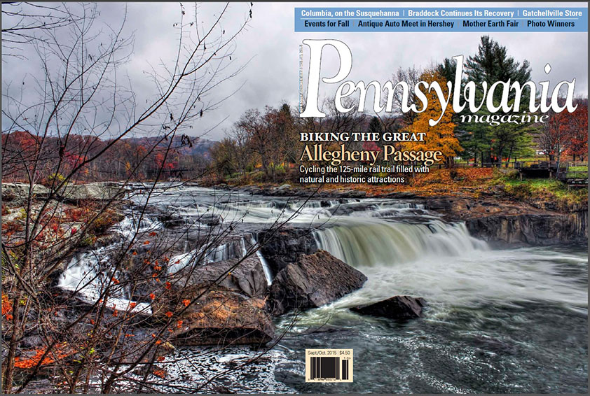 Pennsylvania magazine cover photo of Ohiopyle Falls by Rusty Glessner.