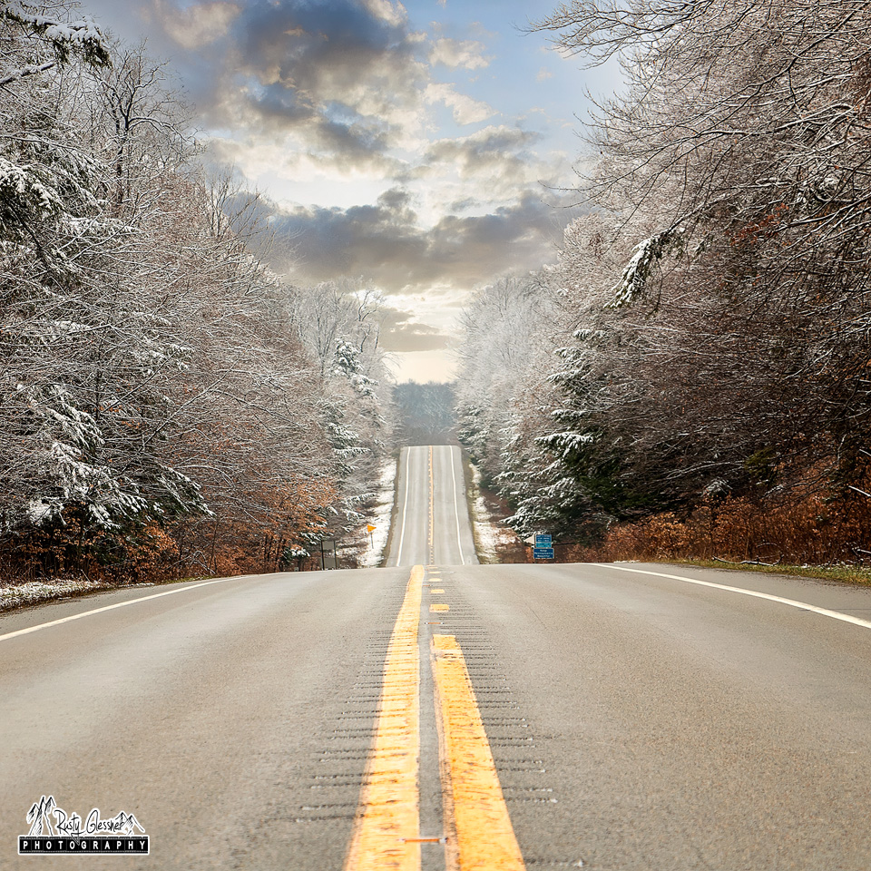 A winter view of Route 66 in the Allegheny National Forest, Forest County, PA.