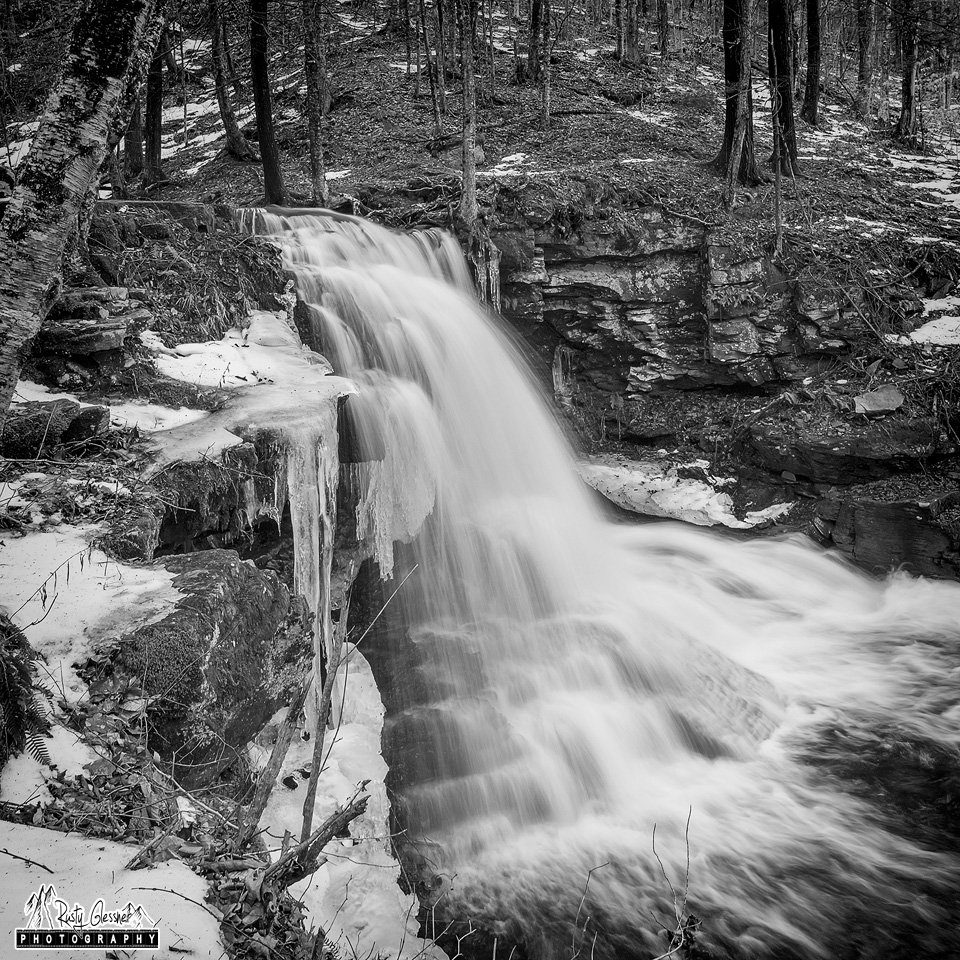 Dry Run Falls (black and white), Loyalsock State Forest, 1.13.2017