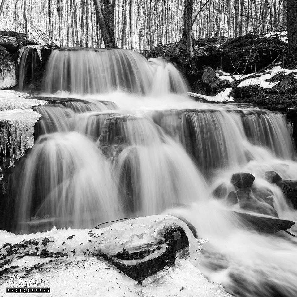 Dutters Run Falls #3 (black and white), Loyalsock State Forest, 1.13.2017