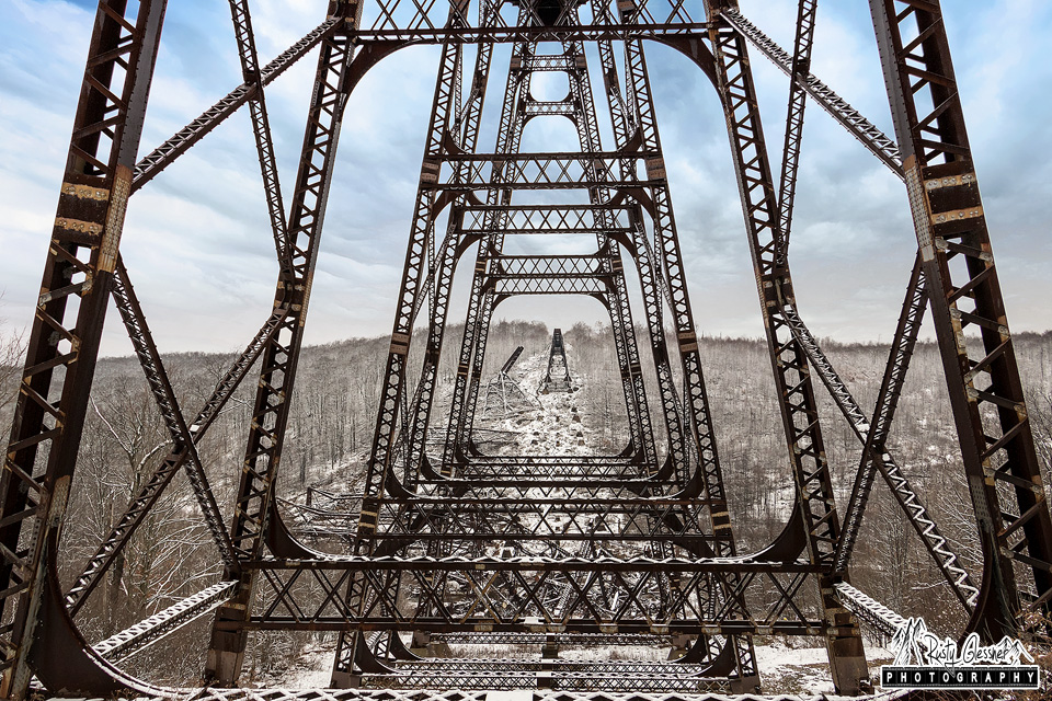 Looking through the train trestle at Kinzua Bridge State Park, McKean County, PA.