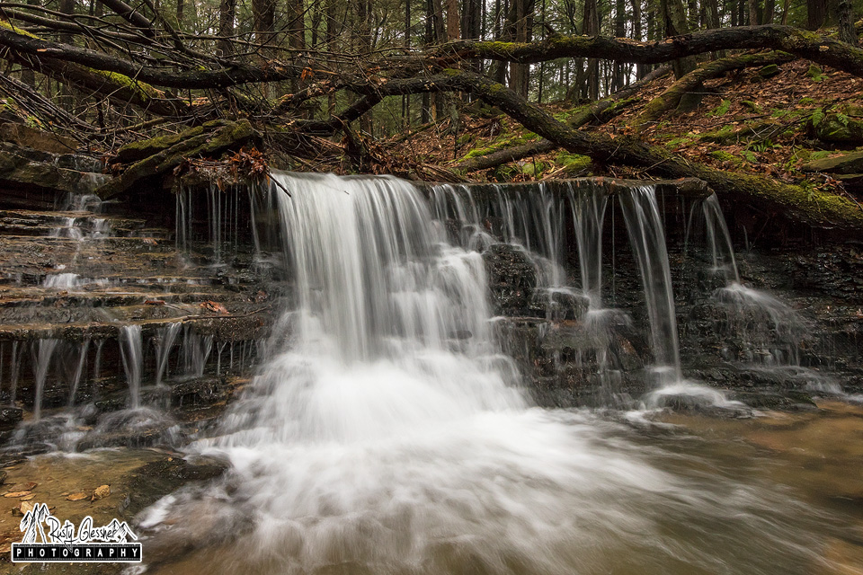 Small waterfall along Miller Run in Oil Creek State Park, Venango