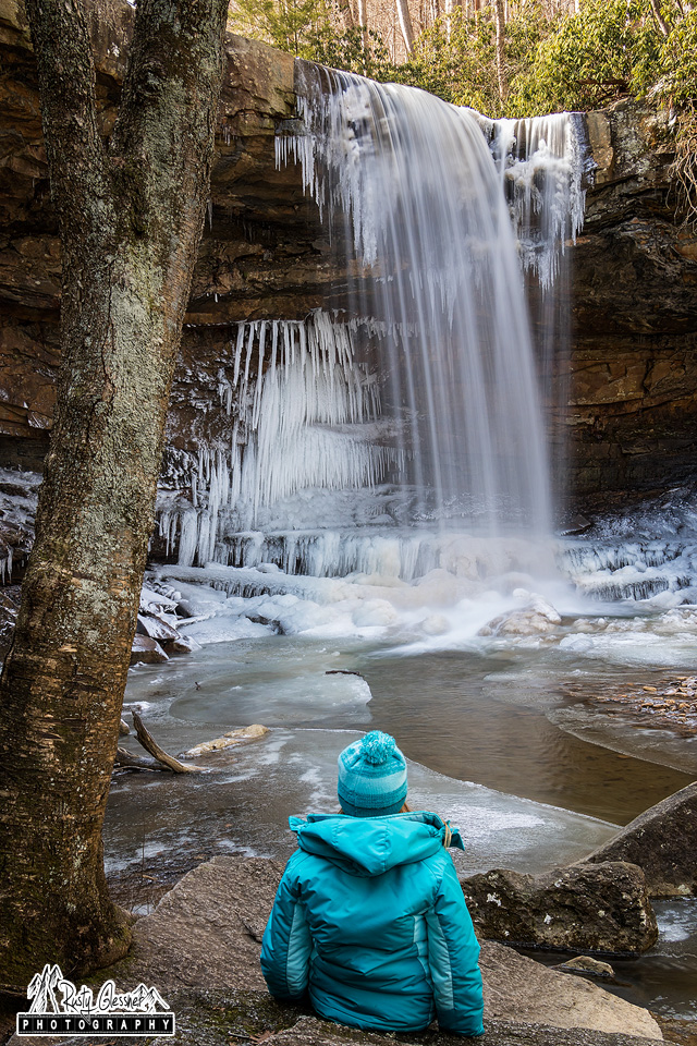 Taking in the scene at Cucumber Falls, Ohiopyle State Park - February 2017.