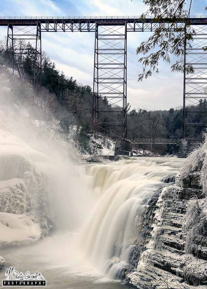 The Portage Viaduct and Upper Falls - Letchworth State Park, Castile, NY