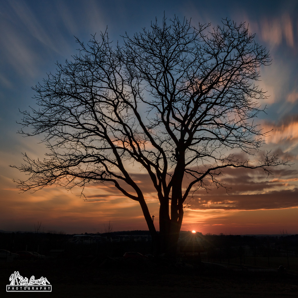 Sunset at Oak Hall Regional Park, Boalsburg, PA - February 22, 2017