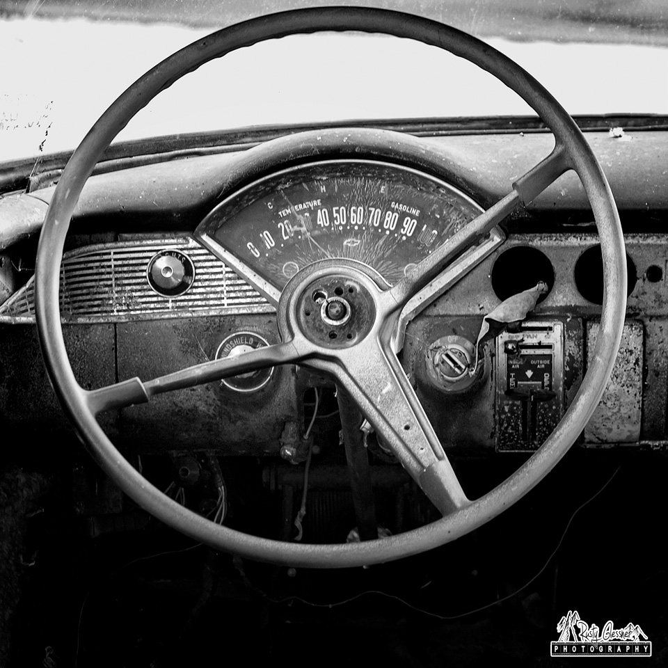 Behind the wheel of an old roadside car I encountered  somewhere near Castile, NY over the weekend.