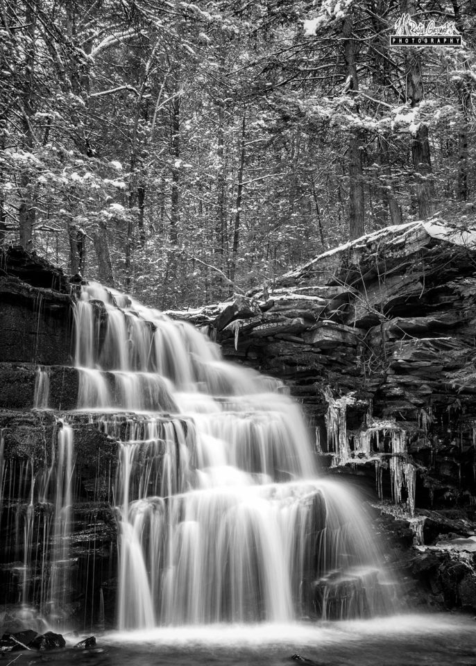 Rosecrans Falls (black and white), Bald Eagle State Forest, Clinton County, PA - February 2017