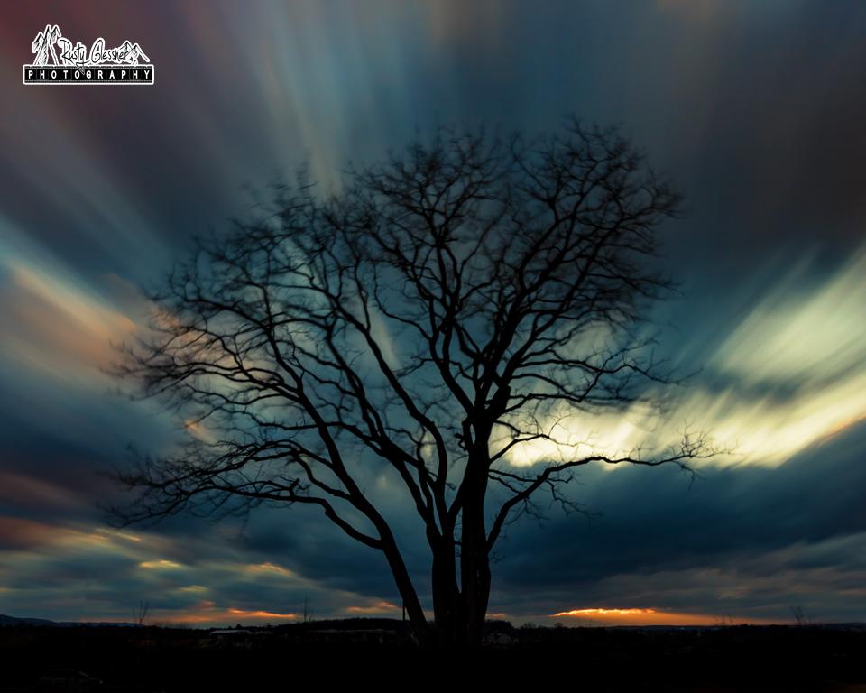 Sunset Cloud Streaks, Oak Hall Regional Park, Boalsburg, PA - February 25, 2017