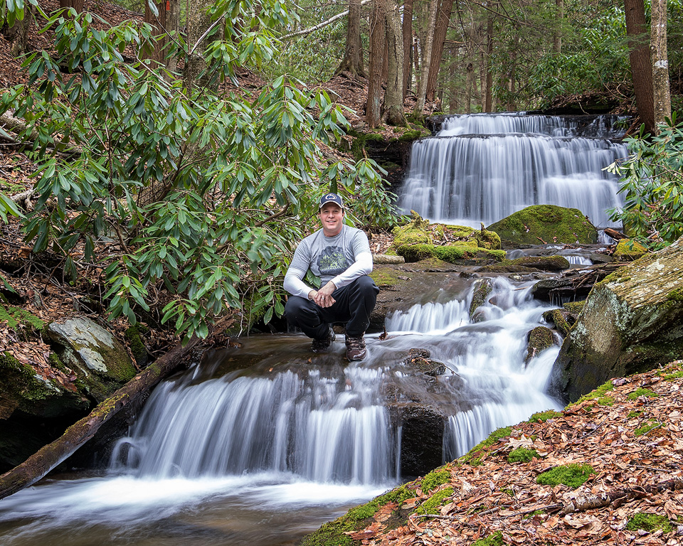 Self-portrait at Yost Run Falls, Sproul State Forest, Centre County, PA - February 22, 2017