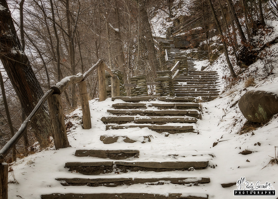 Stairway above Upper Falls at Letchworth State Park - Castile, NY