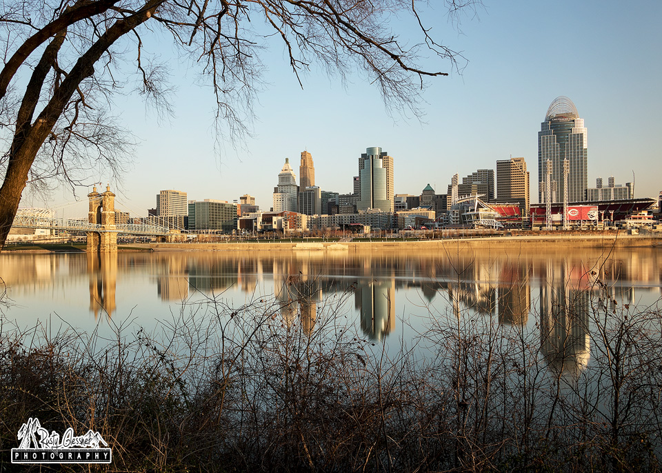Reflection of Cincinnati skyline at sunrise - March 2017