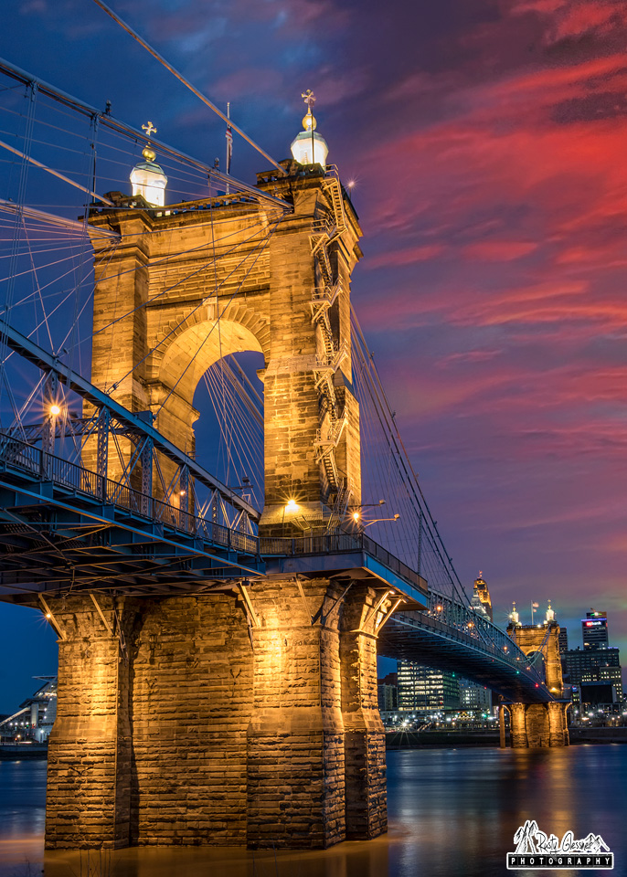 Sunrise over the Roebling Suspension Bridge in Cincinnati, OH - March 2017