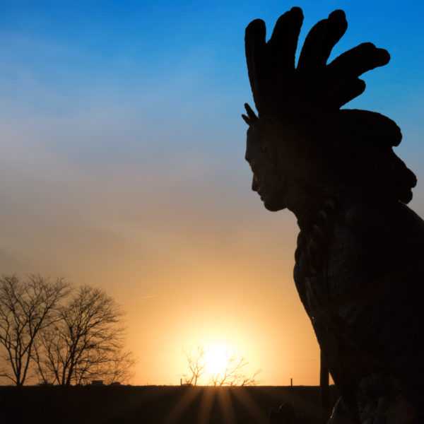 Chief Little Turtle statue at sunrise - Covington, KY - March 2017