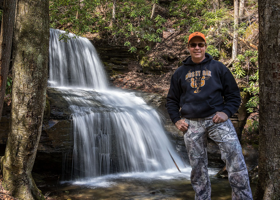 Self-Portrait by Rusty Glessner at Round Island Run Falls, Sproul State Forest, Clinton County, PA - 3.29.2017