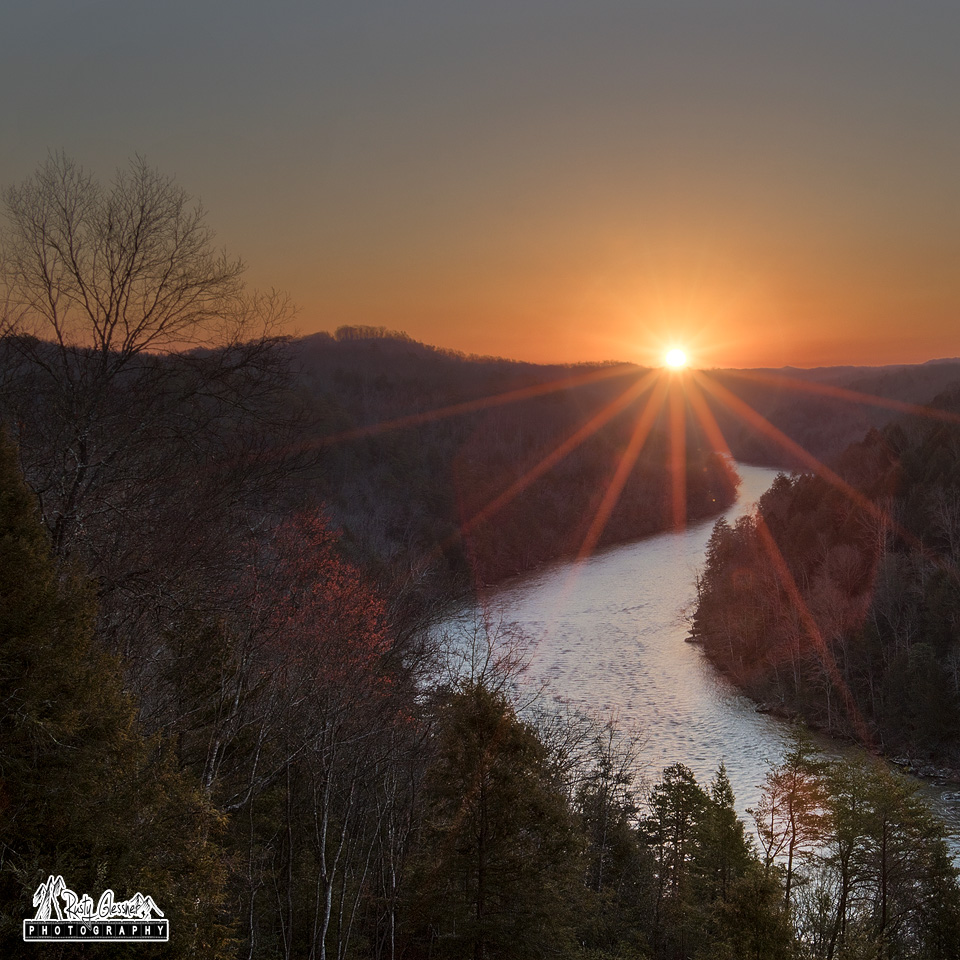Sunrise over the Cumberland River - DuPont Lodge at Cumberland Falls State Park - Corbin, KY