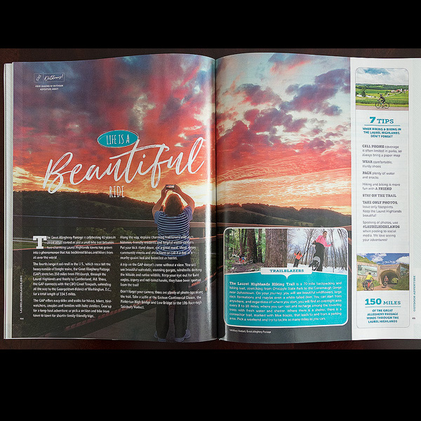 2018 Laurel Highlands Visitors Guide two page photo feature