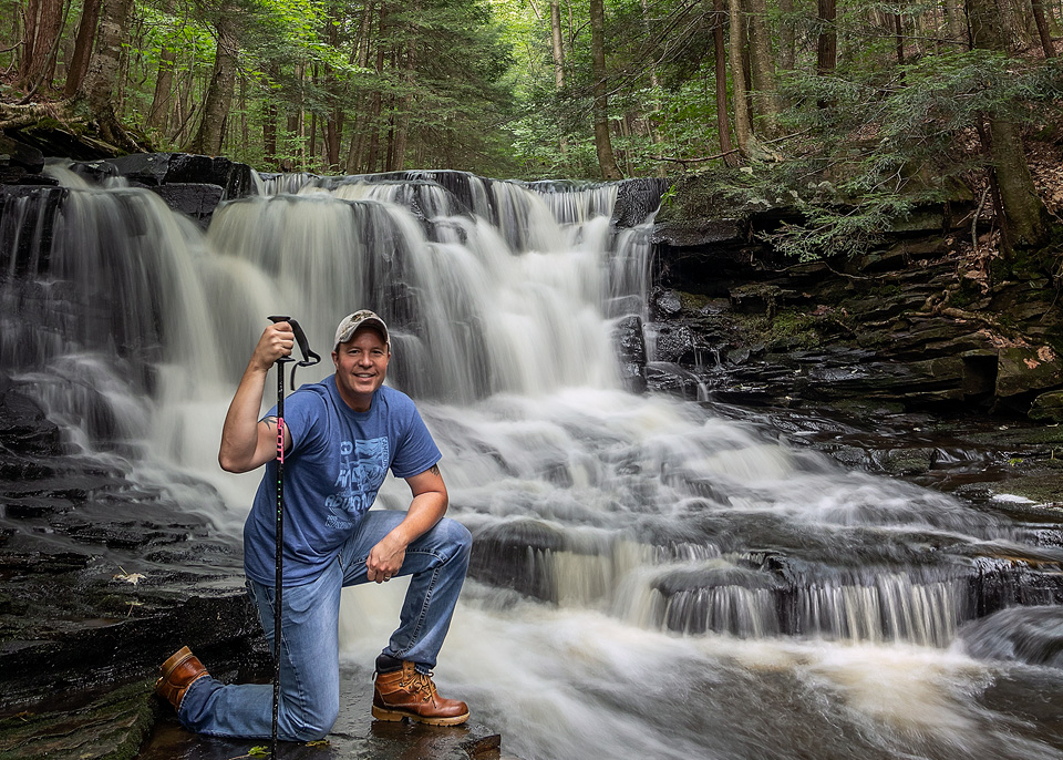 A self-portrait by Rusty Glessner at Rusty Falls in the Loyalsock State Forest, Sullivan County, Pennsylvania.