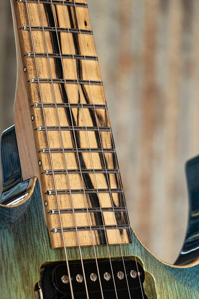 Fretboard detail photo of custom-built guitar by State College photographer Rusty Glessner