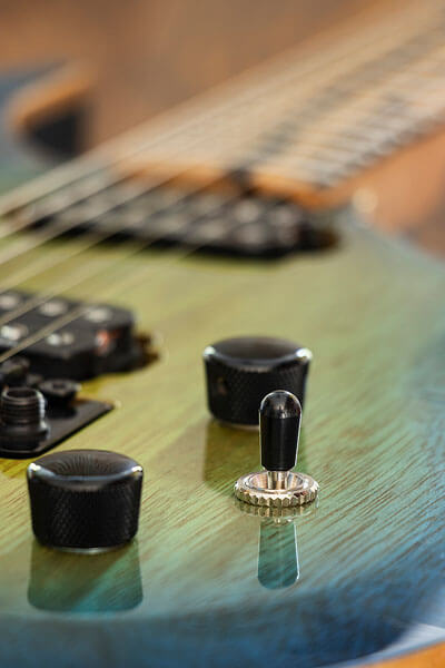 Knob close-up photo of custom-built guitar by State College photographer Rusty Glessner