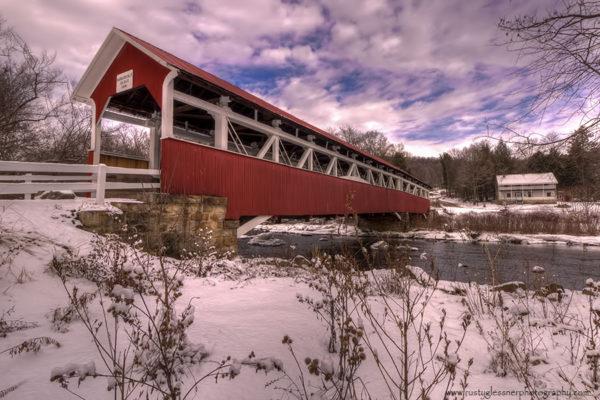 Barronvale Covered Bridge - winter front view.