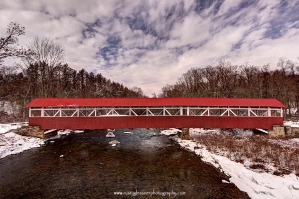 Barronvale Covered Bridge - winter side view.