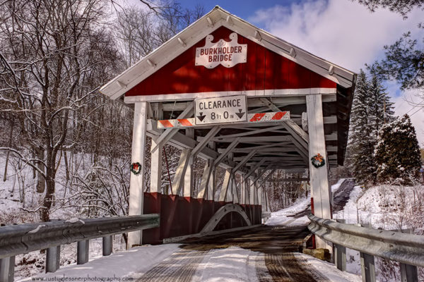 Burkholder Covered Bridge - winter front view.