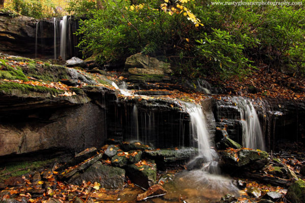 Fall foliage surrounding Cole Run Falls, Forbes State Forest, Somerset County, PA