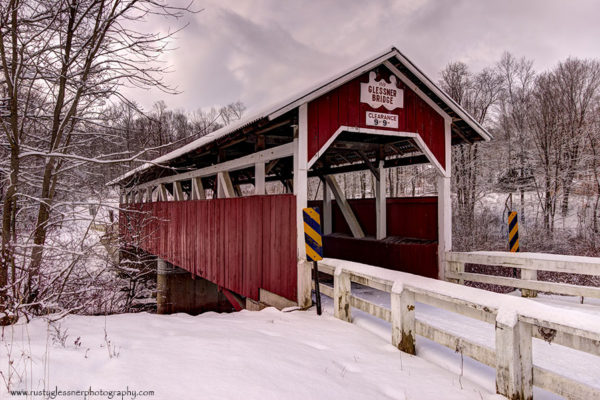 Glessner Covered Bridge - winter front view.