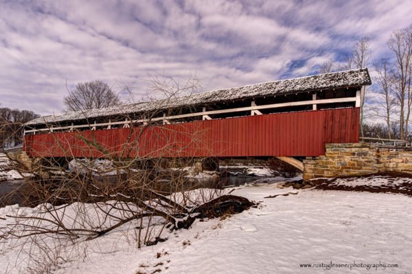 Kings Covered Bridge - winter side view.