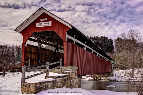 Kings Covered Bridge - winter front view.