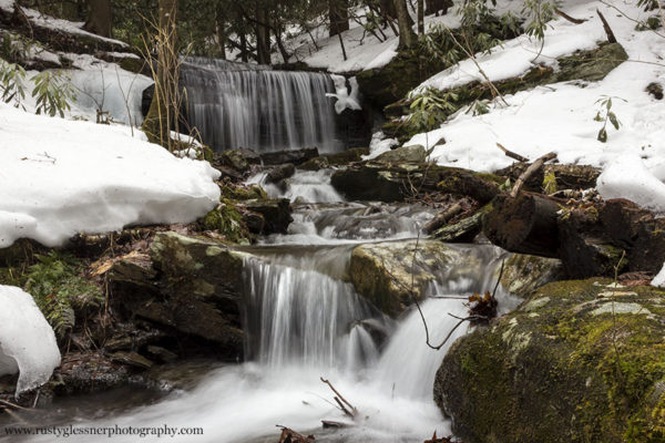 Kyler Fork Falls front view.