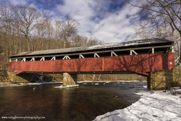 Lower Humbert Covered Bridge - winter side view.