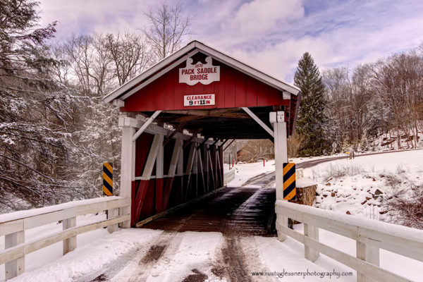 Pack Saddle Covered Bridge - winter front view.