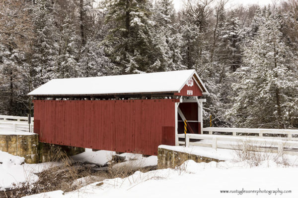 Pack Saddle Covered Bridge - winter side view.