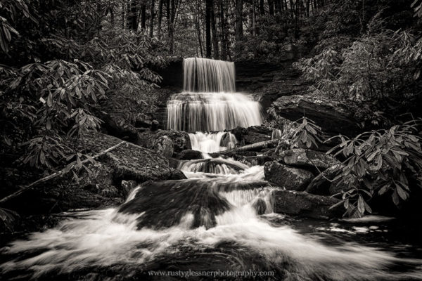 Round Island Run Falls in black and white.
