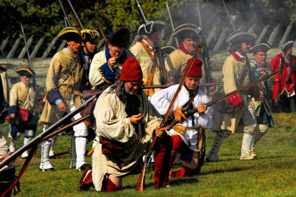 French and Indian reenactors participating in Fort Ligonier Days 2013.